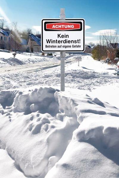 Eingeschränkter Winterdienst! Betreten auf eigene Gefahr - PREMIUM Focus-Schilder Winter, massiv - Hinweisschilder