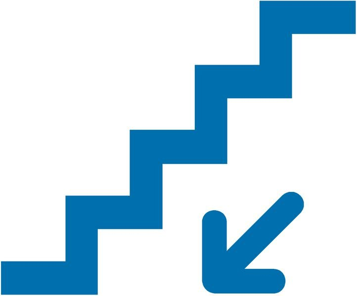 Treppe runter - Piktogramm aus Folie, selbstklebend, ISO 7001