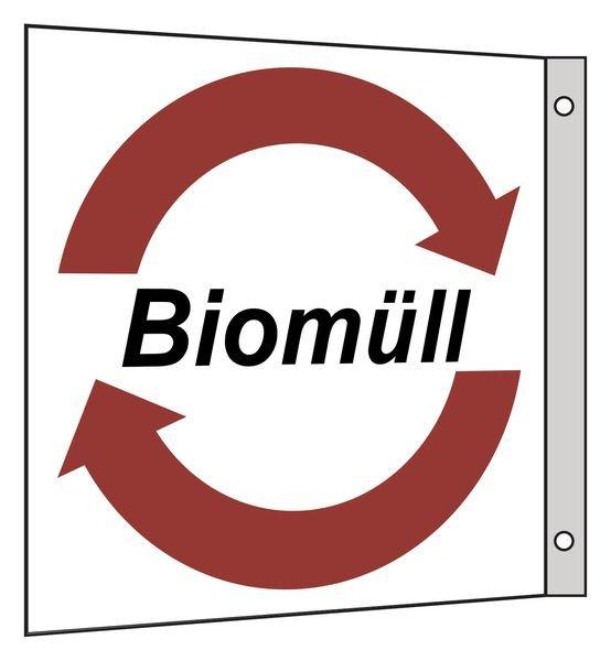 Biomüll - Fahnen- und Winkelschilder für Wertstoffe