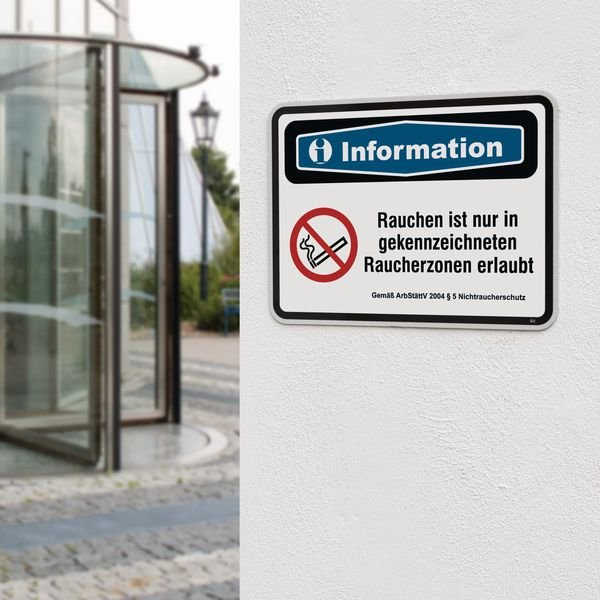 PREMIUM Focusschilder Nichtraucherschutz mit Text nach Wunsch, massiv