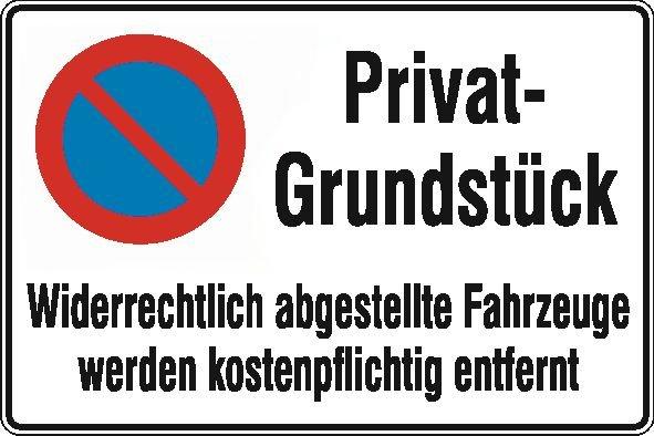 Privatgrundstück/eingeschränktes Haltverbot mit Abschlepphinweis - Parkverbots-Zusatzschilder
