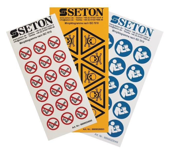 Warnung vor heißer Oberfläche - Mini-Piktogramme, ASR A1.3-2013, DIN EN ISO 7010