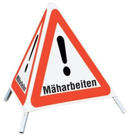 Mäharbeiten - Faltsignale mit Symbol Gefahrstelle