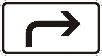 Richtung der Gefahrstelle - Zusatzzeichen für Deutschland, StVO, DIN 67520