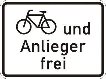 Radfahrer und Anlieger frei - Verkehrszeichen für Deutschland, StVO, DIN 67520