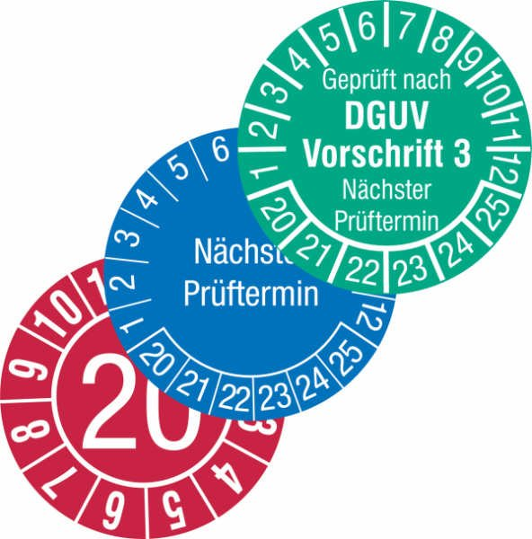 Standard-Prüfplaketten in Wunschfarbe, PVC-Folie, stark haftend