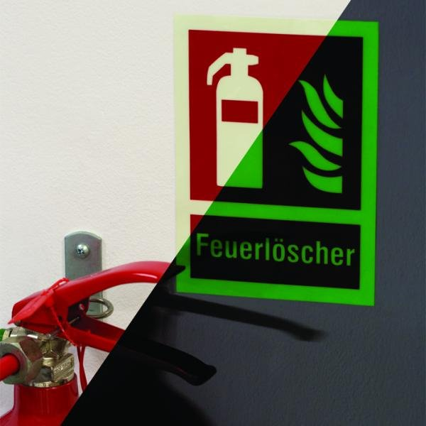 XTRA-GLO Brandschutzzeichen mit Symbol und Text nach Wunsch - Brandschutzzeichen neue ASR A1.3, EN ISO 7010