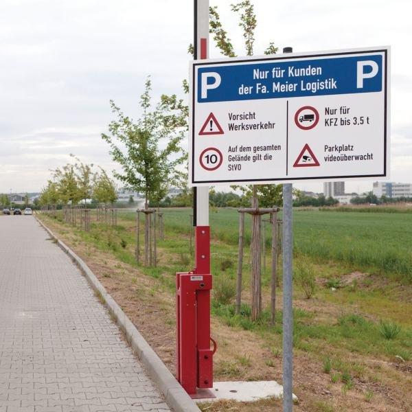 Parkplatz-Kombi-Schilder mit Symbolen und Text nach Wunsch