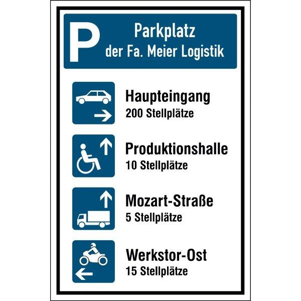 Parkplatz-Kombi-Schilder mit Symbolen und Text nach Wunsch - Parkschilder