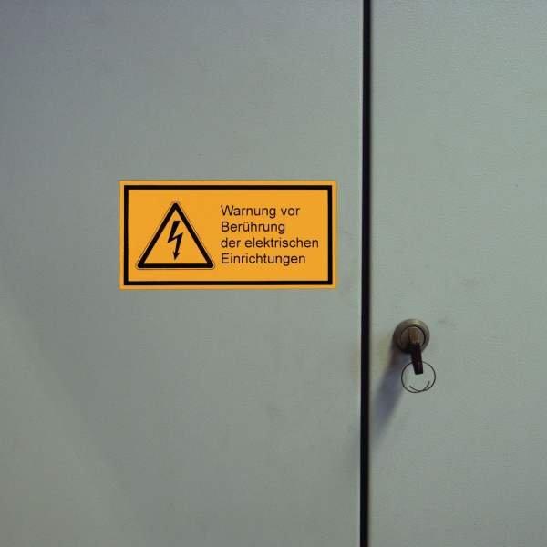 Warnsymbol-Kombi-Etiketten, Elektrotechnik mit Text nach Wunsch, praxiserprobt