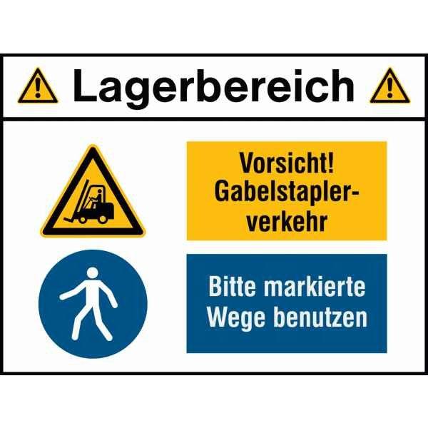 Kombischilder Lagerbereich mit Sicherheitskennzeichen mit Symbol und Text nach Wunsch