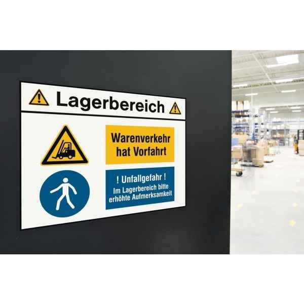 Kombischilder Lagerbereich mit Sicherheitskennzeichen mit Symbol und Text nach Wunsch - Hinweisschilder zur Betriebskennzeichnung