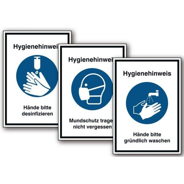 Hygiene-Hinweisschilder mit Symbol und Text nach Wunsch