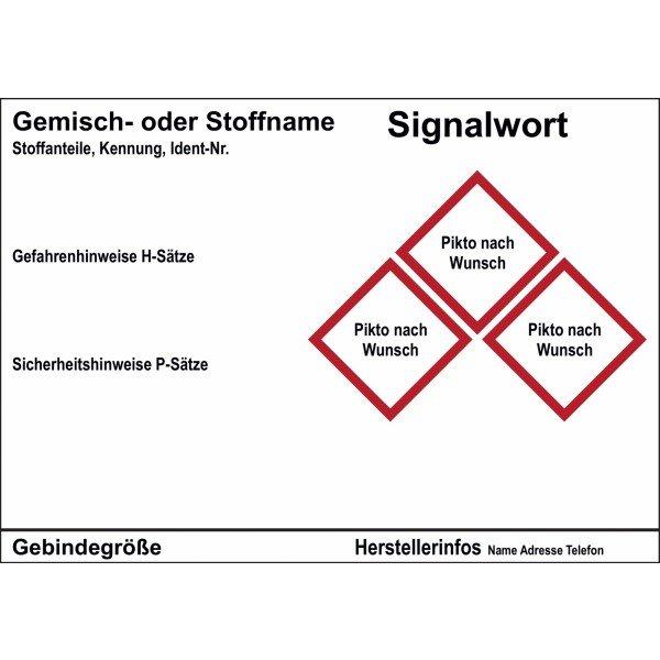 Gefahrstoffetiketten, individuell, GHS/CLP - Gefahrstoffetiketten gemäß GHS-/CLP