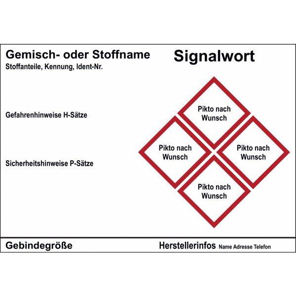 Gefahrstoffetiketten, individuell, GHS/CLP - Gefahrstoffkennzeichnung