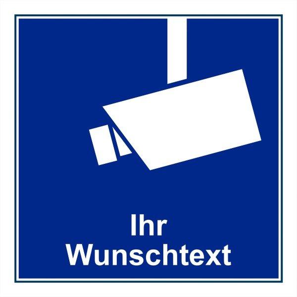 Videokennzeichnung zur Hinterglasverklebung mit Text nach Wunsch, im Warndesign - Videoüberwachung-Schilder und Aufkleber