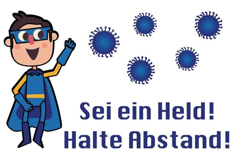 Sei ein Held! Halte Abstand! m - SetonWalk Bodenmarkierung, R10 nach DIN 51130/ASR A1.5/1,2