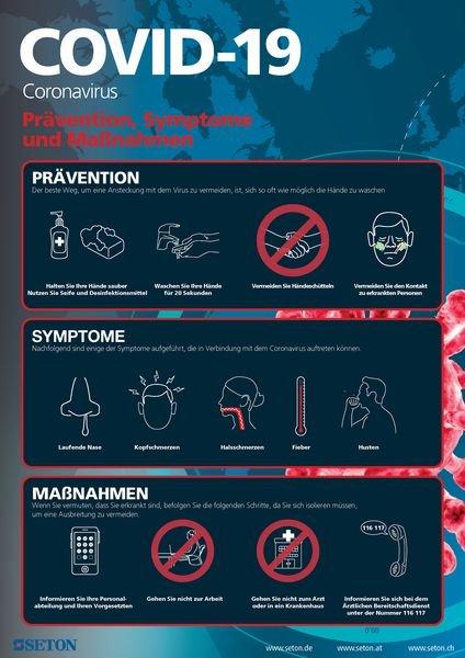 Hinweisposter CORONA Prävention, Symptome, Maßnahmen