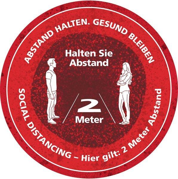 ABSTAND HALTEN - SOCIAL DISTANCING, rund - SetonWalk Bodenmarkierung, R10 nach DIN 51130/ASR A1.5/1,2
