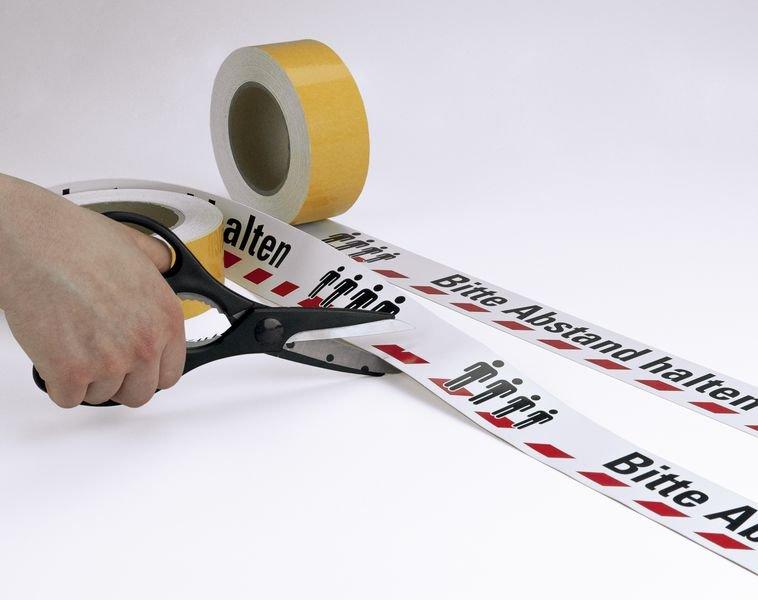 Bitte Abstand halten - Warnmarkierungsband mit Hygienehinweis - Markierungen
