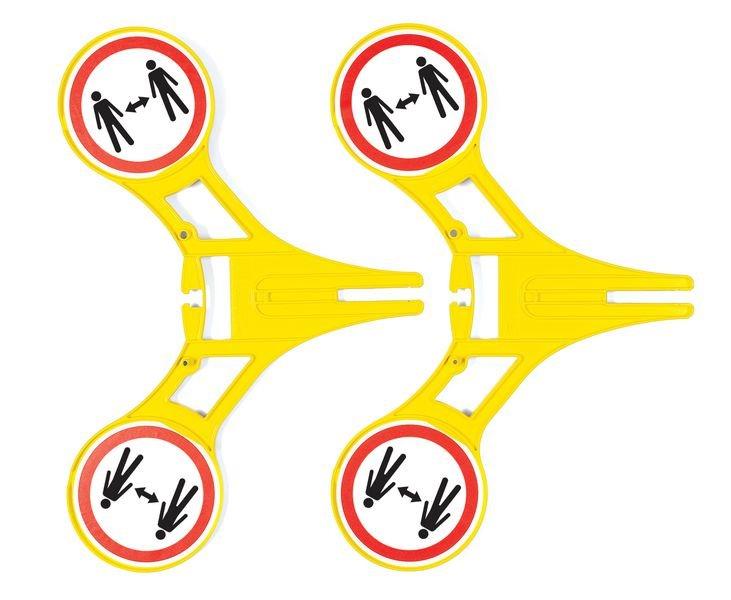 Abstand halten - SETON Warnaufsteller 360 mit Symbol, praxiserprobt - Warnaufsteller