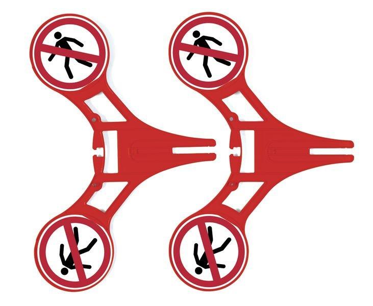 Fußgänger verboten - SETON Warnaufsteller 360 mit Verbotszeichen, praxiserprobt - Warnaufsteller