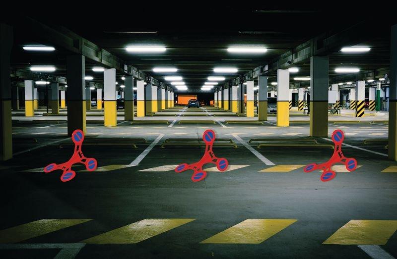 Parken verboten - SETON Warnaufsteller 360 mit Verbotszeichen, praxiserprobt