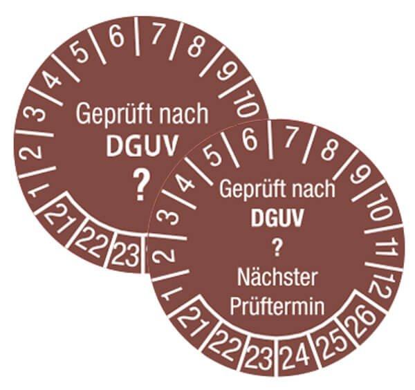 Prüfplaketten mit individuellem DGUV-Zahlenschlüssel, Dokumentenfolie, fälschungssicher