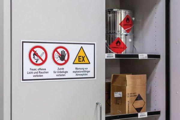 Mehrsymbol-Schilder mit 3 Symbolen und Text nach Wunsch, ASR A1.3-2013 und DIN EN ISO 7010 - Warnschilder
