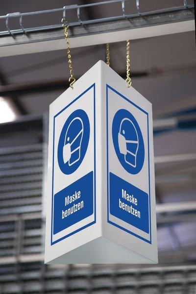 Kombi-Schilder mit Symbol und Text nach Wunsch, ISO 7010 - Gebotszeichen neue ASR A1.3, EN ISO 7010