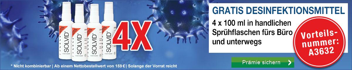 Gratis 4 x 100 ml Desinfektionsmittel sichern! Ab 159 € Nettobestellwert mit der Vorteilsnummer A3632