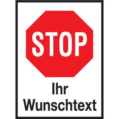 Individueller Aufkleber mit Stop-Zeichen