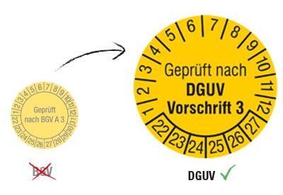 Prüfplakette neue DGUV Vorschrift