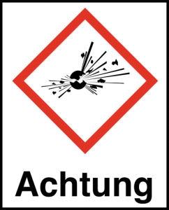 Symbol Explodierende Bombe nach GHS mit Signalwort Achtung