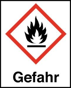 Symbol Flamme nach GHS mit Signalwort Gefahr