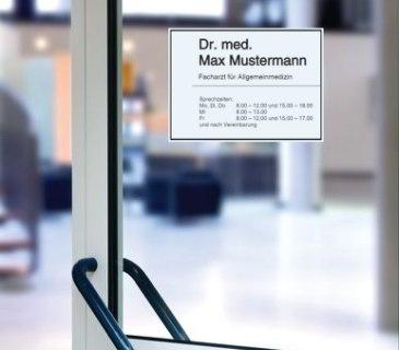 Musterschild Öffnungszeiten Arztpraxis