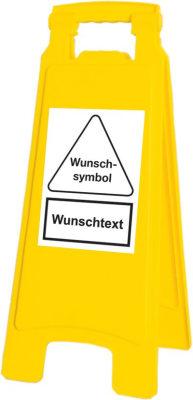 Warnaufsteller mit Symbol und Text nach Wunsch