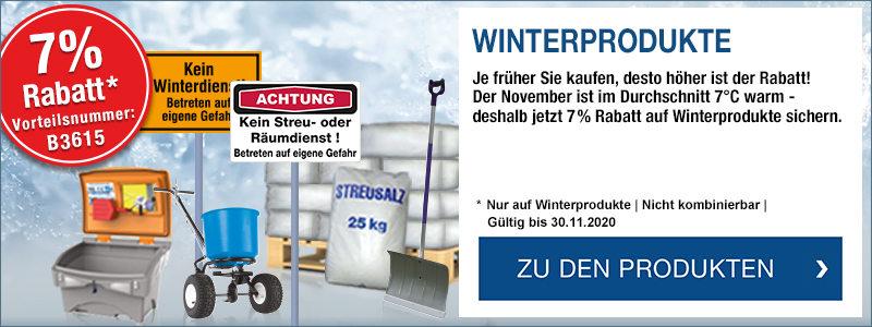 Winterprodukte - Je früher Sie kaufen, desto mehr sparen Sie. Jetzt 7 % Rabatt sichern mit der Vorteilsnummer B3615