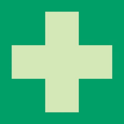 Grünes Erste-Hilfe-Kreuz
