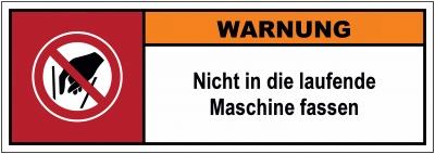 Kombischild zur Maschinenbeschilderung nach DIN ISO 3864