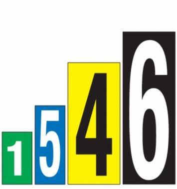 Selbstklebende Buchstaben und Zahlen in unterschiedlichen Größen