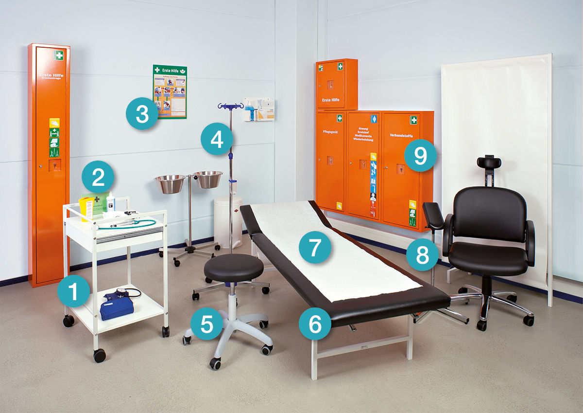 Ausstattung Erste-Hilfe-Raum