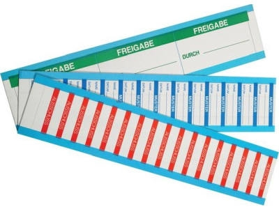 Beschriftbare Qualitätssicherungsetiketten auf Karten