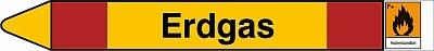 gelber pfeil mit roten streifen, text: erdgas, gefahrstoffsymbol: orangenes quadrat mit schwarzem flammensymbol, der signatur F+ und dem wort hochentzuendlich darunter