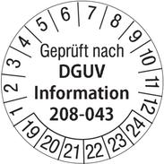 Geprüft nach DGUV Info 208-043