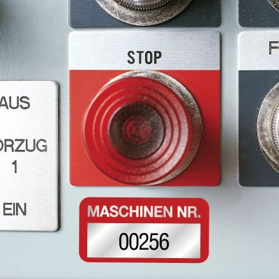 Beispiel: Anlagenkennzeichnung - EasyMark Maschinen-Inventaretiketten