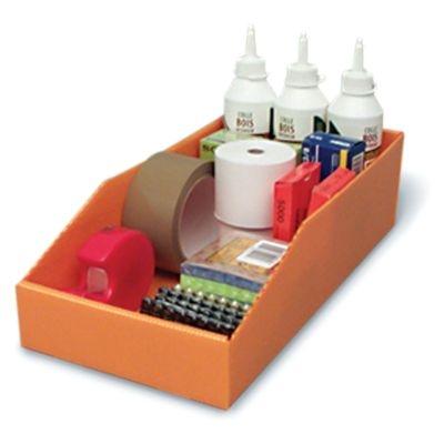 Lagerkasten Farbe orange befüllt mit Schreibtischutensilien