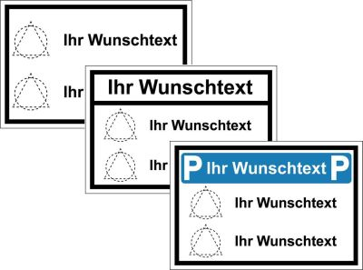Parkplatz-Kombinationsschilder mit Wunschsymbolen und Wunschtexten
