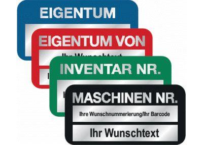 STANDARD Inventaretiketten, mit Nummerierung und Text nach Wunsch