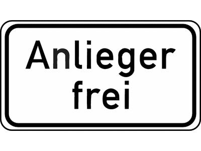Verkehrszeichen-Nr. 1020-30 Zusatzschild Anlieger frei